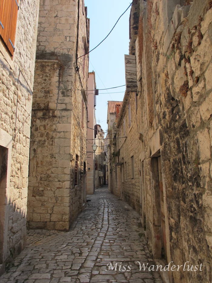A narrow lane in Trogir, Croatia.