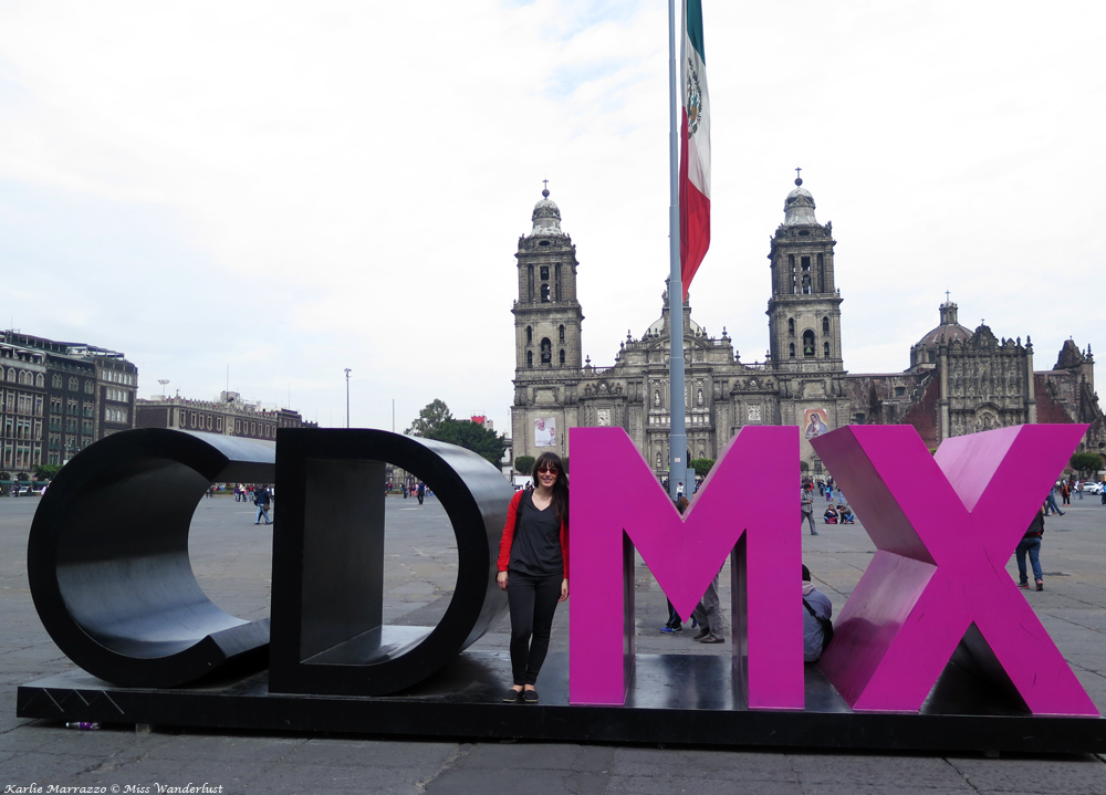 The CDMX sign in the main squre of Mexico City