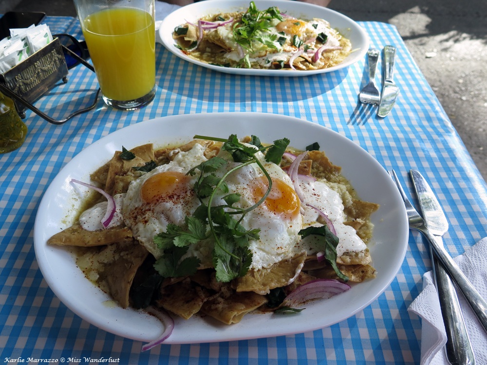 A plate of chilaquiles, tortilla chips covered in green salsa, cheese and egg.