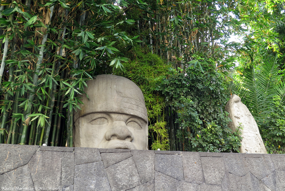 A giant Olmec head at the National Museum of Anthropology in Mexico City