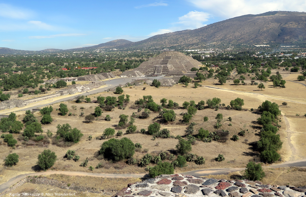 Overlooking Teotihuacan and the Pyramid of the Moon from the Pyramid of the Sun.