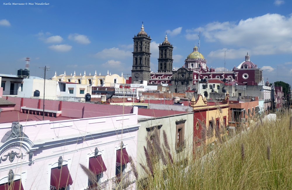 The view over Puebla from the rooftop of the Amparo Museum.