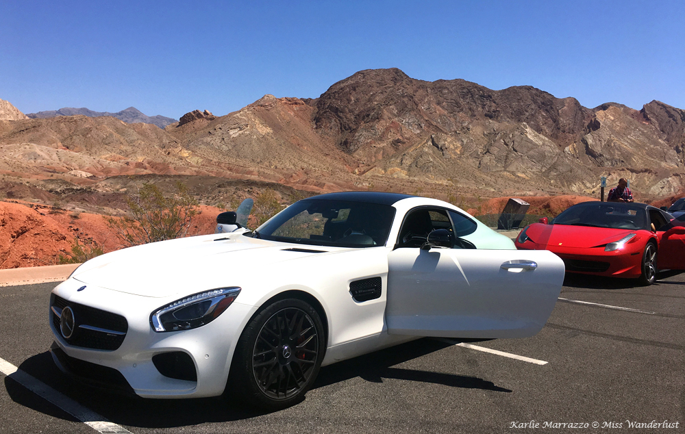 A white Mercedes-AMG GT S in the Nevada desert at Lake Mead