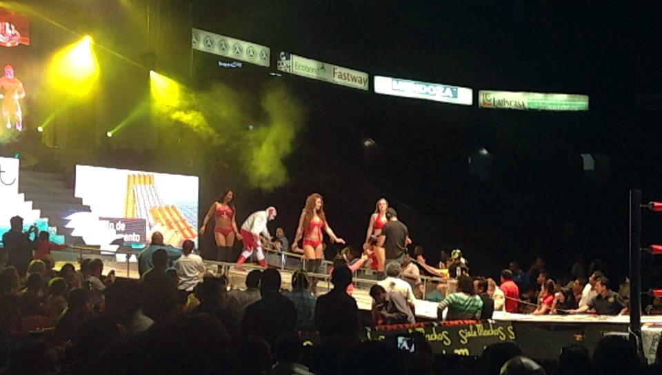 Female wrestlers in the ring at a lucha libre match in Mexico City.