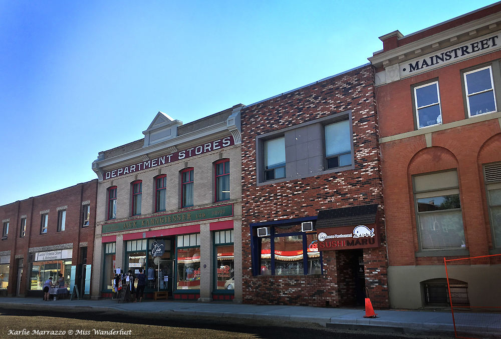 Brick buildings on the historic main street of Lacombe, Alberta.