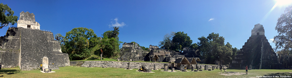 a panoramic view of the mayan archaeological site of tikal guatemala